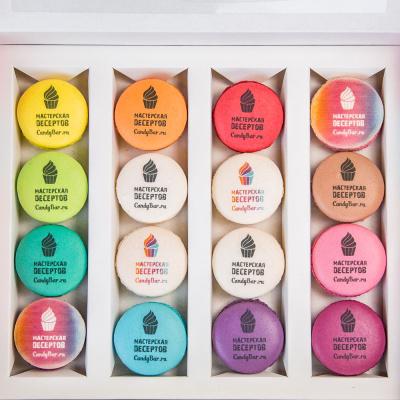 Купить брендированные макаруны - корпоративный набор 16 шт - Мастерская десертов CandyBar